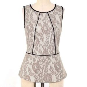 Anthropologie Weston Wear Gray Lace Peplum Top